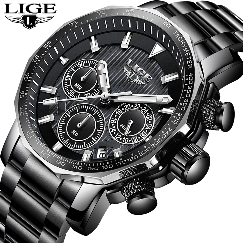 LIGE Waterproof Men Chronograph Stainless steel Luxury  Business Watch Men Military Sports Quartz Clock Male Relogio MasculinoLIGE Waterproof Men Chronograph Stainless steel Luxury  Business Watch Men Military Sports Quartz Clock Male Relogio Masculino