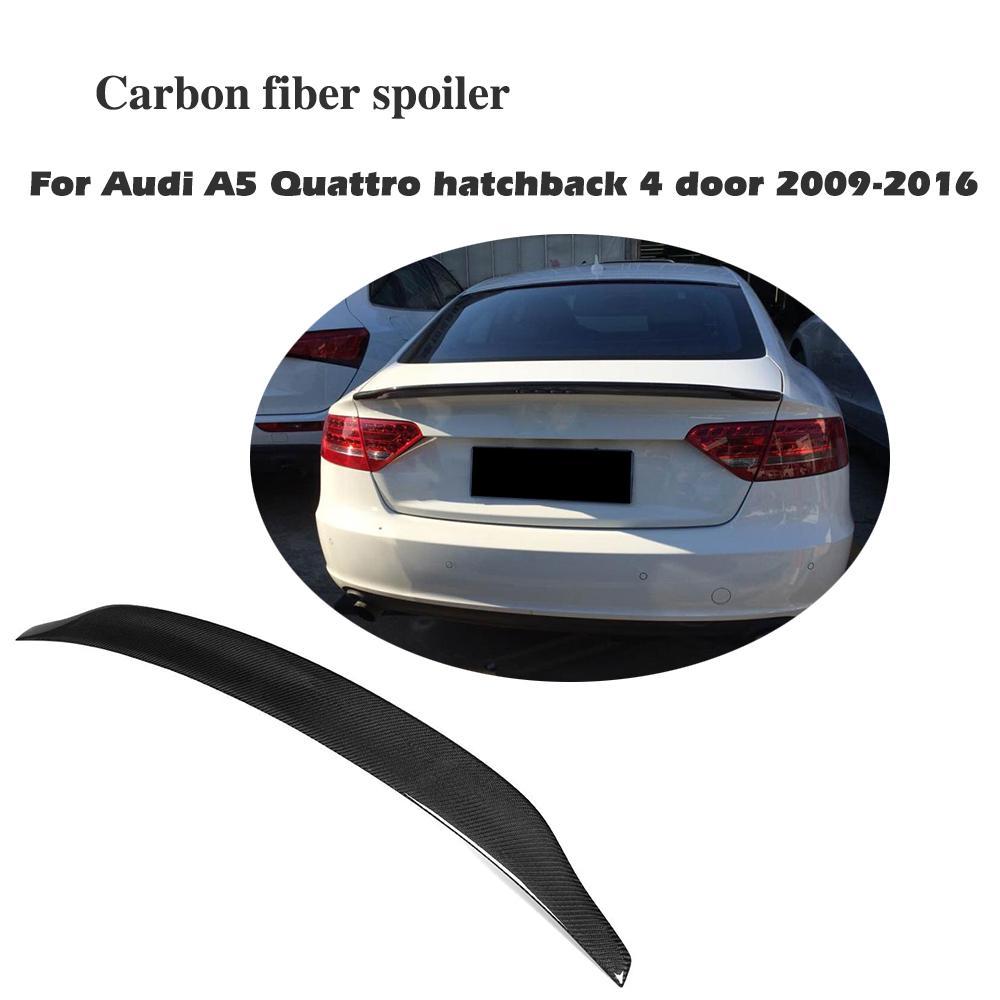 цена на Factory Carbon Fiber Rear Trunk Boot Lip Wing Spoiler For Audi A5 Sportback 4Door 2009-2016 C Style Trim Sticker