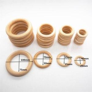Image 5 - Chenkai 10 pçs cm 4 nature nature natureza mordedor de madeira anel diy infantil dentição anel bebê chupeta mastigar jóias brinquedo 100mm 4 polegada