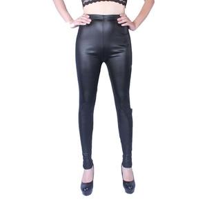 Image 2 - 2018 Vrouwen Hoge Elastische Dunne Faux Lederen Leggings Grote Maat Xl 5XL Imitatie Lederen Broek Skinny Shiny Black Plus Leggings