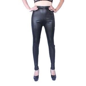 Image 2 - 2018 mulheres de alta elasticidade fina couro do falso leggings tamanho grande Xl 5XL calças de couro imitação magro preto brilhante mais leggings