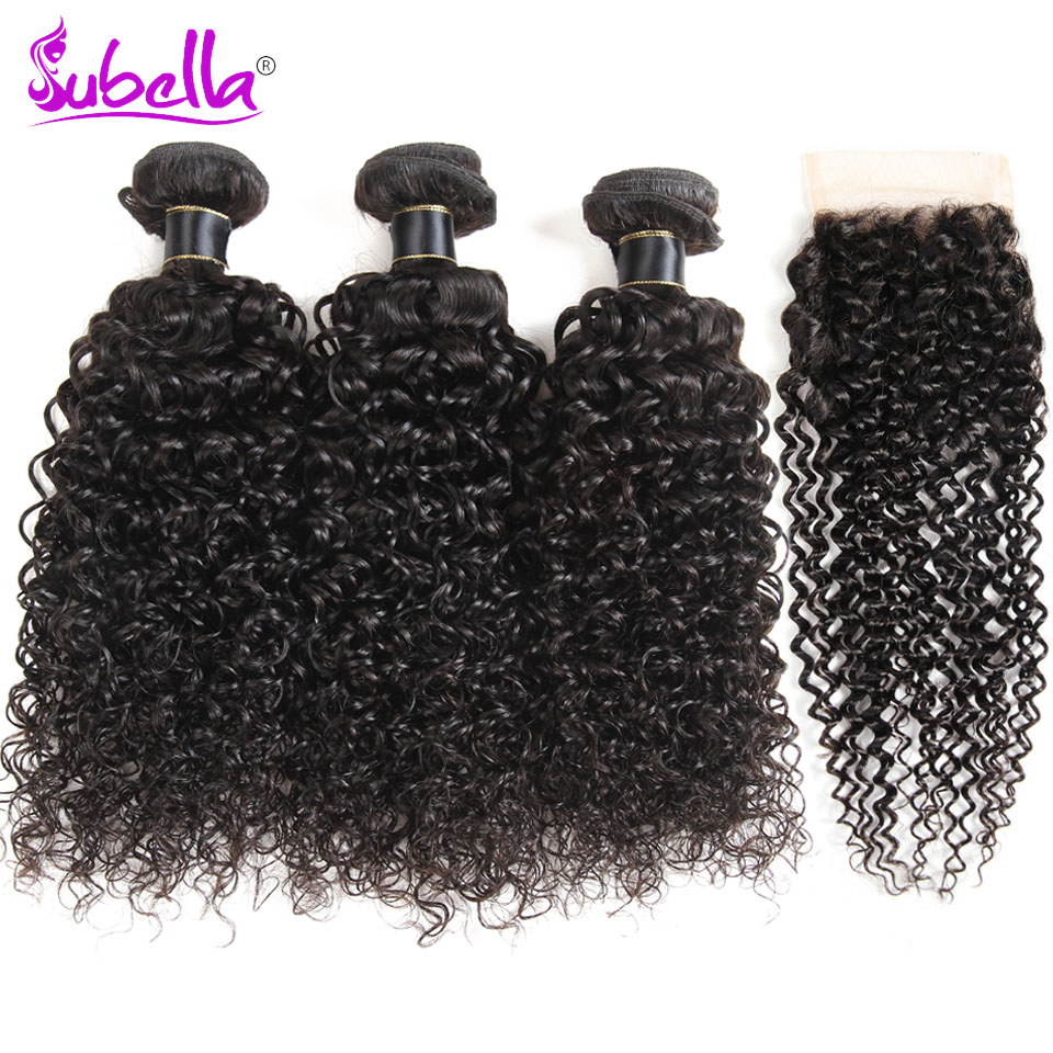 Subella Indian Kinky Curly Weave Human Hair 3 Bundles with Lace Closure Non-remy Hair Weave Bundles with Closure