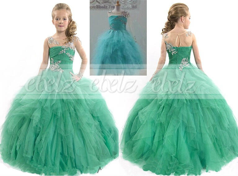 Girl Kids Ball Gown Pageant Dress Bridesmaid Party