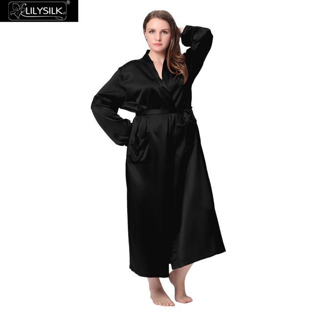 87787aa6c64 Lilysilk Long Silk Bathrobe Women Plus Size Bridesmaid Robes 22 Momme  Dressing Gown Kimono Night Wedding