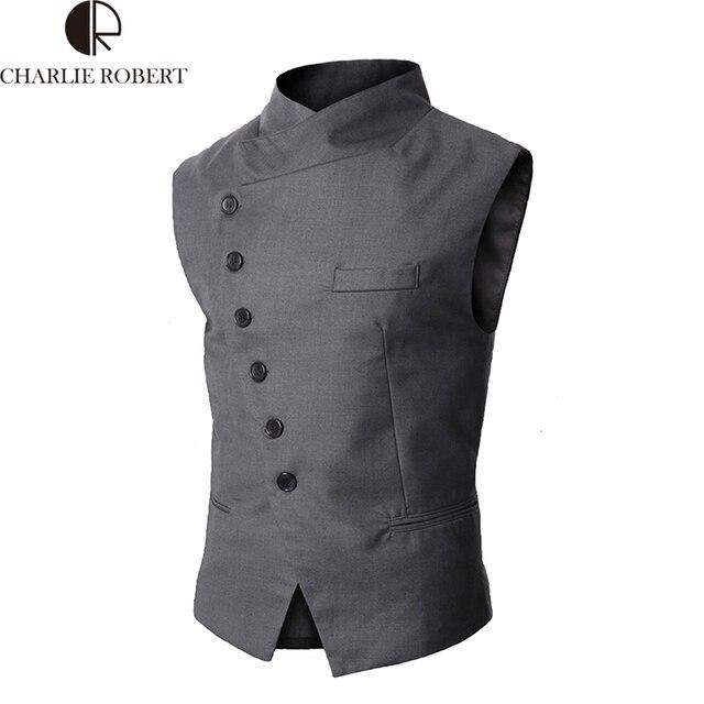 De alta Calidad Para Hombre Chaleco de Los Hombres de Alta Calidad Negro Gris Formal de Negocios hombres Chalecos de Vestir de Marca de Moda en Forma de Chaleco Trajes y Blazer Para hombres