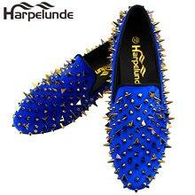 Harpelunde Men Christmas Gift Dress Shoes Spikes Black Velvet Loafers