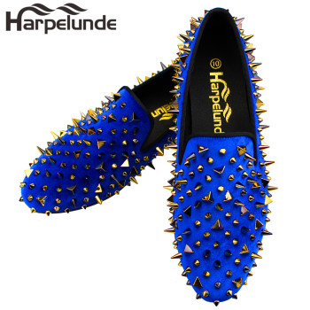 Harpelunde Men Christmas Gift Dress Shoes Spikes Black Velvet Loafers