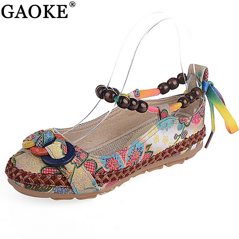 Casual Flat Shoes Women Flats Handmade Beaded Ankle Straps Loafers Zapatos Mujer Retro Ethnic Embroidered Shoes vintage flats shoes women casual cotton peacock embroidered cloth flat ankle buckles ladies canvas platforms zapatos mujer