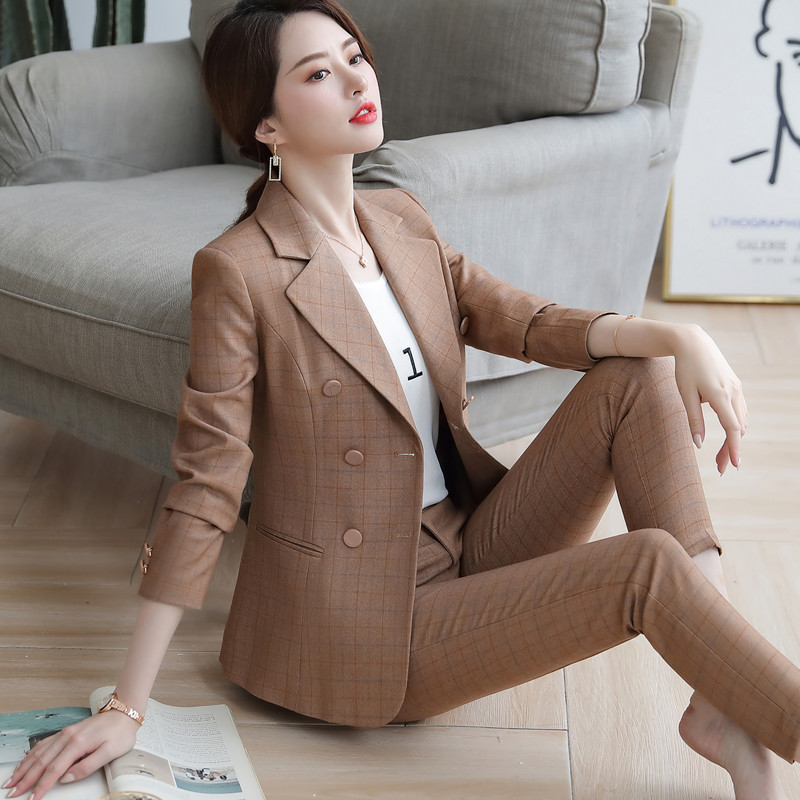 2019 Autumn Plaid pants sutis women slim fashion temperament professional long sleeve blazer and pants office ladies foraml work 1