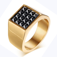 Fashion New Gold Plating Man Ring Stainless Steel Fine Jewelry CZ Diamonds Wedding Engagement Men Rings