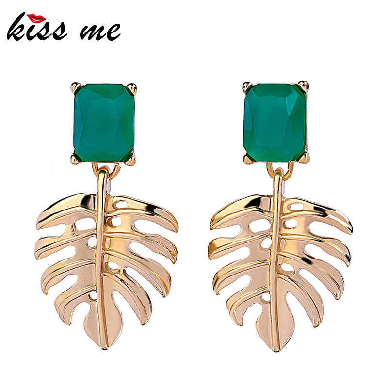 KISS ME Gold Color Alloy Hollowed Leaf Green Resin Rectangle Drop Earrings for Women Fashion Jewelry