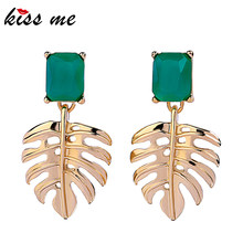 KISS ME Gold Color Alloy Hollowed Leaf Green Resin Rectangle Drop Earrings for Women Fashion Jewelry(China)