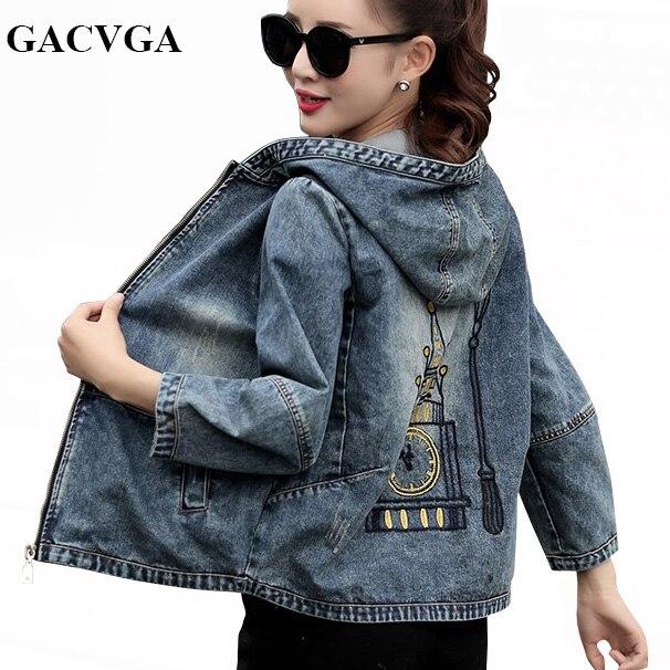 GACVGA 2019 Spring/Autumn Denim Jacket Women Embroidered Plus Size Bomber Jacket Hooded Jeans Jacket Women Basic Coats