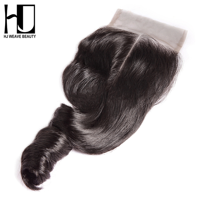 HJ WEAVE BEAUTY Lace Closure Brazilian Loose Wave Remy Hair Natural Color 100% Human Hair 4''x 4'' Free Shipping