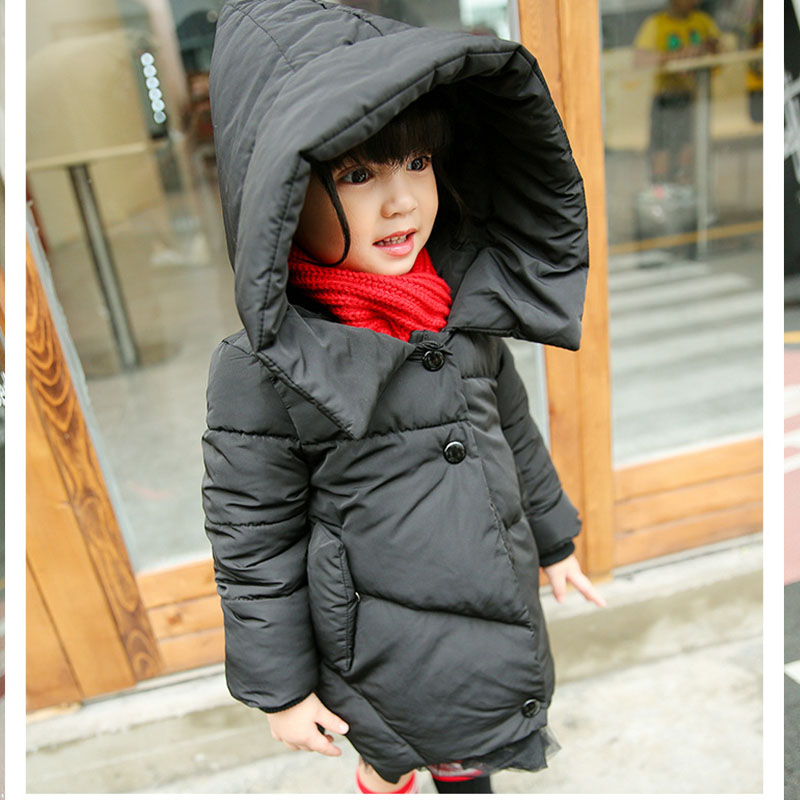 big hooded girls winter jackets for kids thick coats infant overcoat children outerwear & coats girl solid padded clothing 2-9 Y