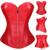 Envío Gratis Sexy Negro Rojo Steampunk Corsé de Overbust Más Pechugón de Cuero de Imitación Zip Top Más El Tamaño de La Talladora Del Cuerpo