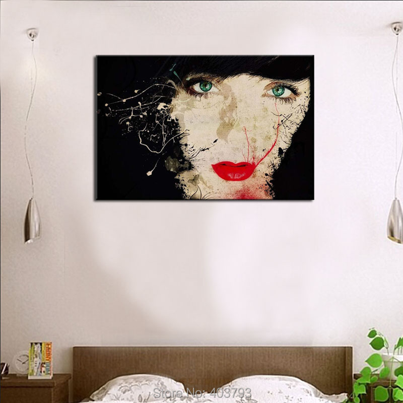 ⑧Arte de la pared mujer cabeza boca roja pintura del arte imágenes ...