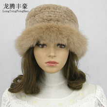 Elegant Fedoras Hats for Women Natural Rex Rabbit Fur Knitted Vintage Winter Woman Real Fox Hat Brim & Caps