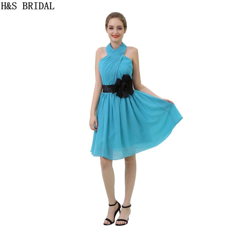 H&S BRIDAL Halter Blue   cocktail     dresses   Draped Chiffon   cocktail     dress   Backless vestido   cocktail   With Black Belt