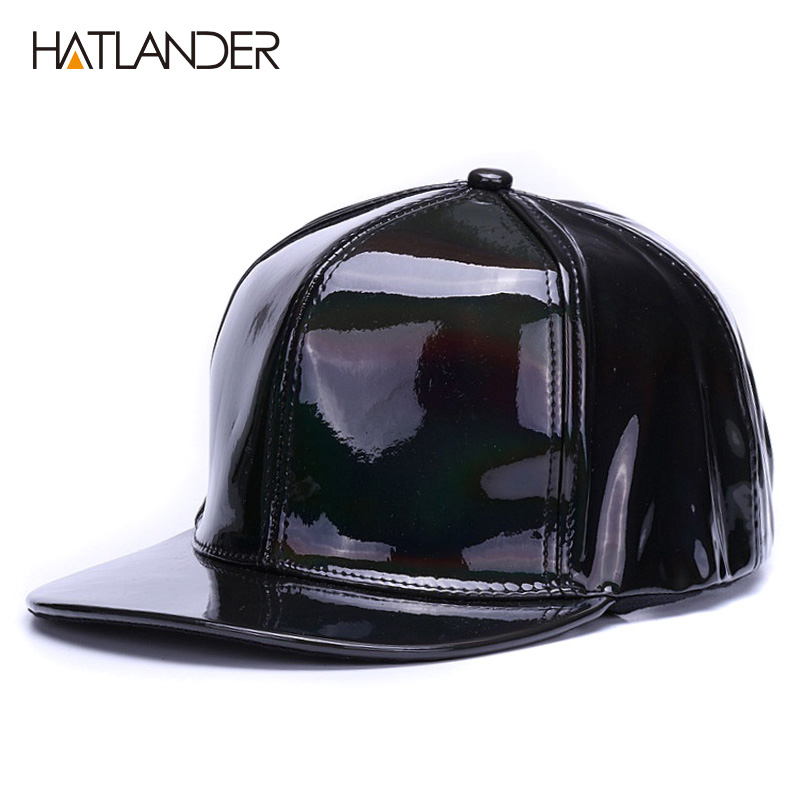 012db2ff4a2 Details about Shining PU flat brim baseball hats for boys girls solid  snapbacks