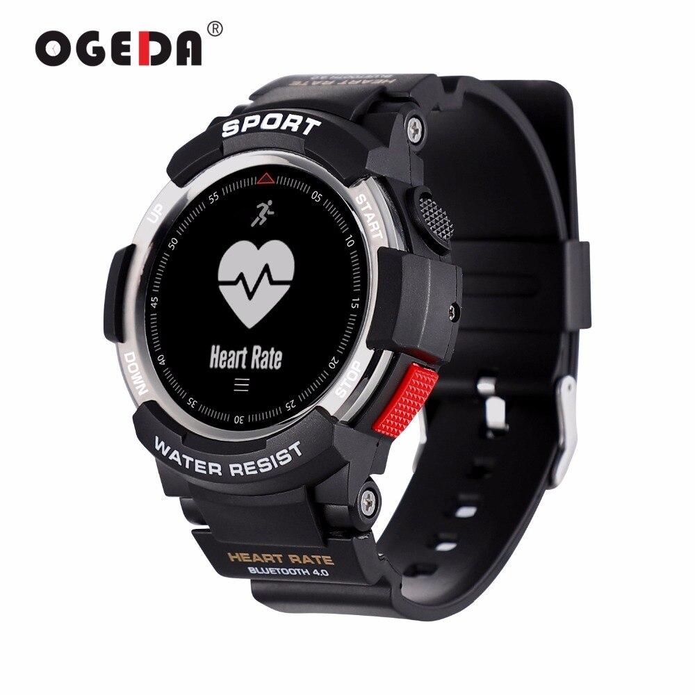 OGEDA Hommes Montre Bluetooth F6 Smartwatch IP68 Étanche Moniteur de Fréquence Cardiaque Fitness Tracker montre Smart Watch avec Multi Mode Sport Nouveau