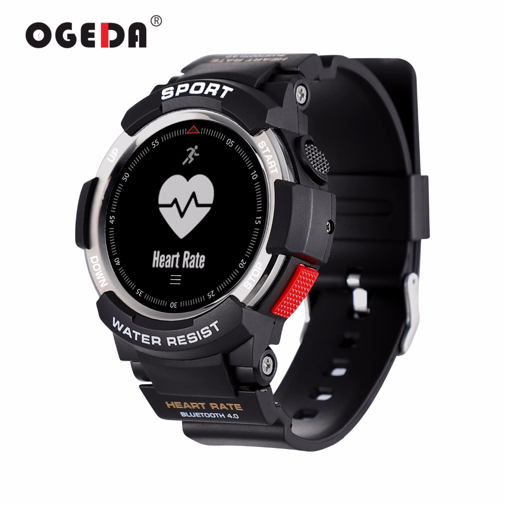 OGEDA Men Watch Bluetooth F6 Smartwatch IP68 Waterproof Heart Rate Monitor Fitness Tracker Smart watch with Multi Sport Mode New fs08 gps smart watch mtk2503 ip68 waterproof bluetooth 4 0 heart rate fitness tracker multi mode sports monitoring smartwatch