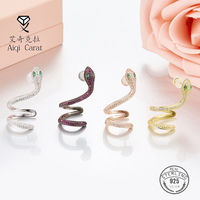 AIQICARAT 925 Sterling Silver Stud earrings for women Fine jewelry Fashion Animal Snake Rose Gold Color One Piece For Party