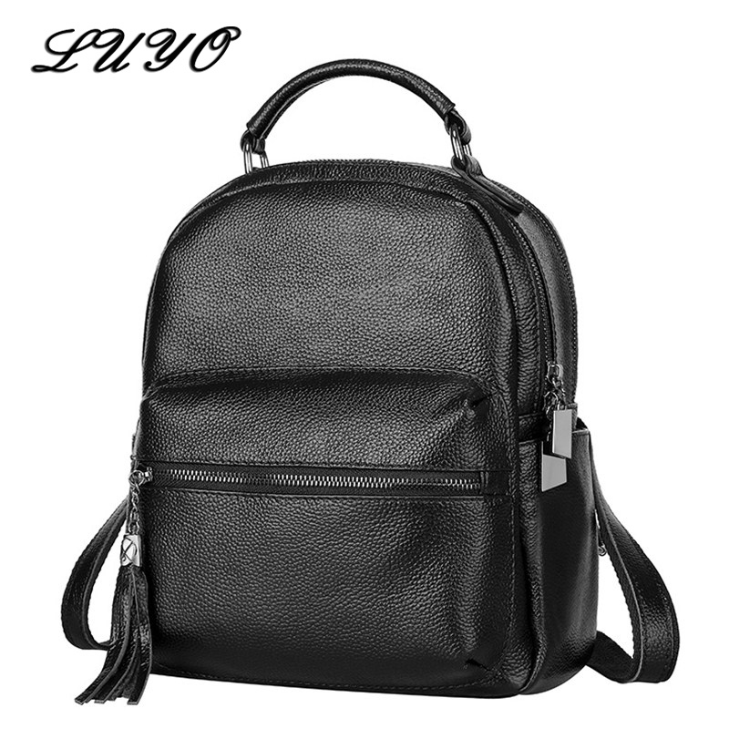 LUYO Casual Genuine Leather Women Bag Fashion Travel Black Backpack Schoolbag Backpacks For Teenage Girls Kanken Female Mochilas компактные тени vamp 2 5 г pupa глаза