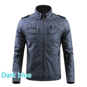 Image 5 - Men PU Leather Jacket 2020 New Autumn Winter Mens Thick Casual Warm Stand Collar Zipper Coats Male Fashion Motorcycle Jackets
