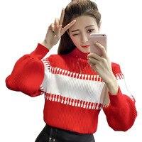 JKKUCOCO Newest Women Sweaters Lantern Long Sleeve Turtleneck Patchwork Fashion Striped Sweaters Women pullover sweater 5 Colors