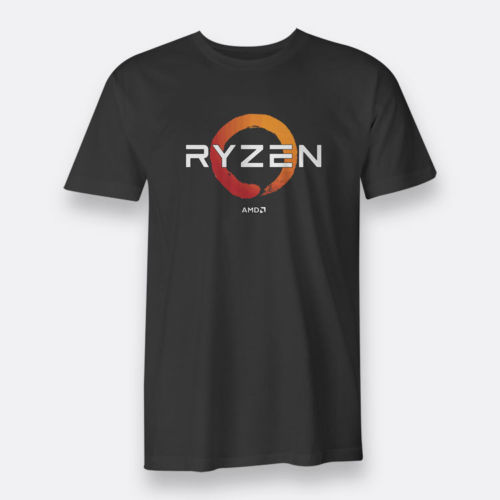 Custom Shirts Online Mens AMD Gaming RYZEN CPU Mens Tees S to 3XL Black T-shirt Graphic Crew Neck Short Sleeve Tees
