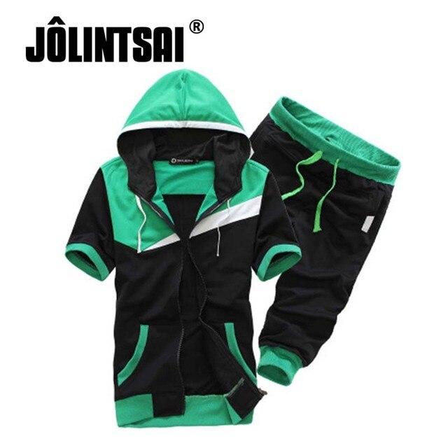 Jolintsai 2017 Summer Men Sportwear Hit Color Patchwork Short Sleeve Hoodies Shorts Set Men's Hooded Sweatshirt Sweatsuit