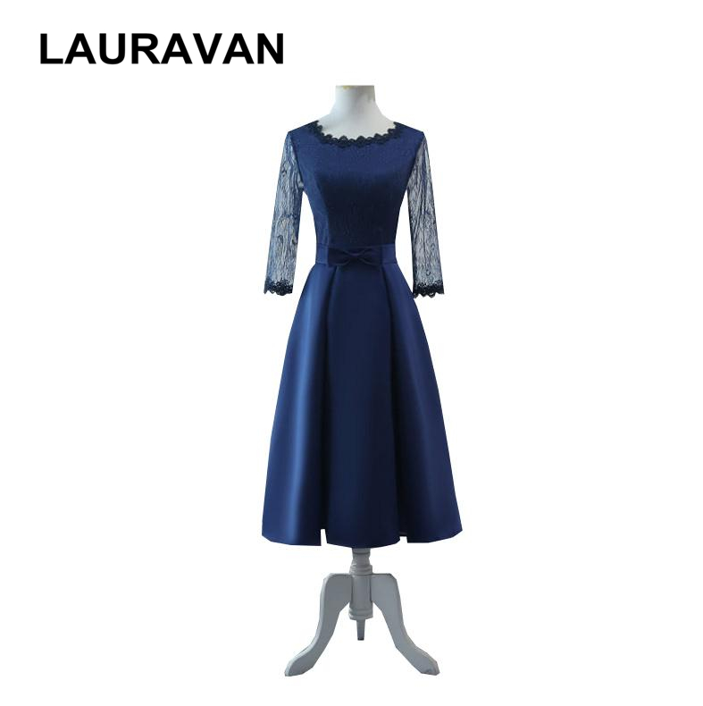 Woman Ladies Modest Formal Bridesmaid Gowns Tea Length Dresses Elegant Dinner Dress With Half Sleeves For Women Party Gown