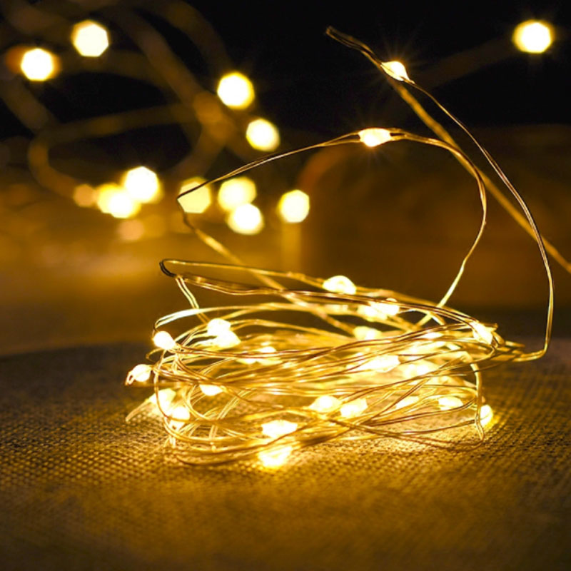 Battery Led String Lights 2m 5m 10m Natale Decoration Lamp Garland Fairy Lights Silver Wire Mini Hair Accessories Decoration