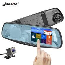 """Jansite Автомобильный dvr 4,3 """"сенсорный экран двойной объектив Автомобильная камера FHD 1080 P видео рекордер заднего вида зеркало с заднего вида DVR Dash cam авто"""