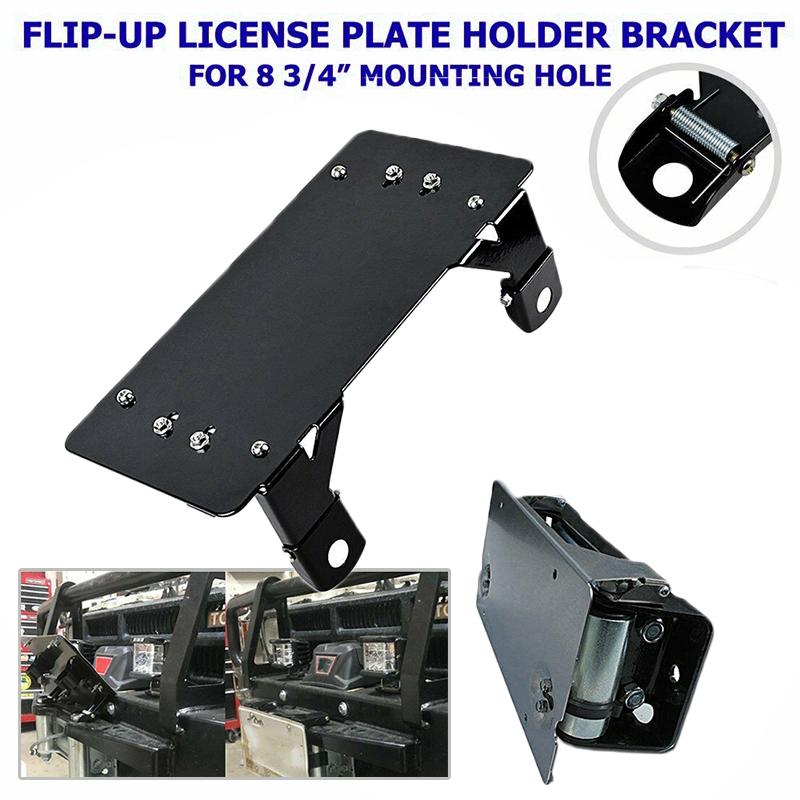 Black Electric Winch License Plate Bracket Styling Winch Roller Guide Rope License Plate Frame Mount Bracket Holder For Fairlead