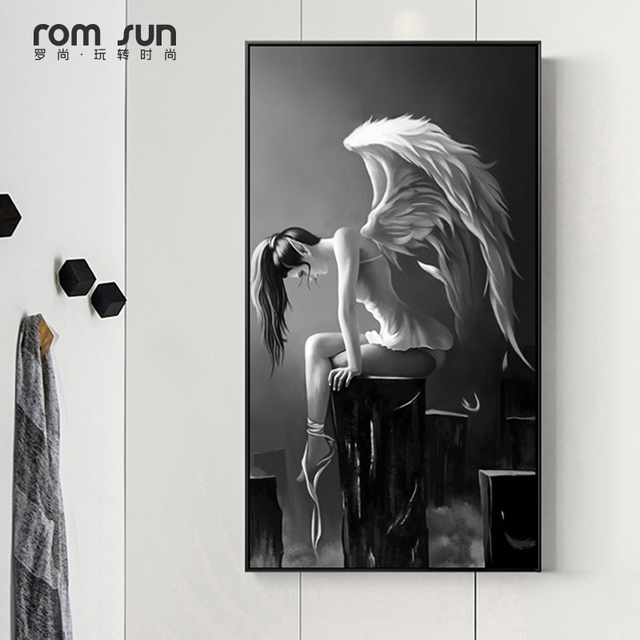 Modern Black And White Angel Wings Anime Poster Canvas