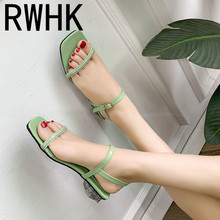 RWHK Sandals female 2019 new summer wild heel shoes sandals thick with fairy wind word buckle Roman B410