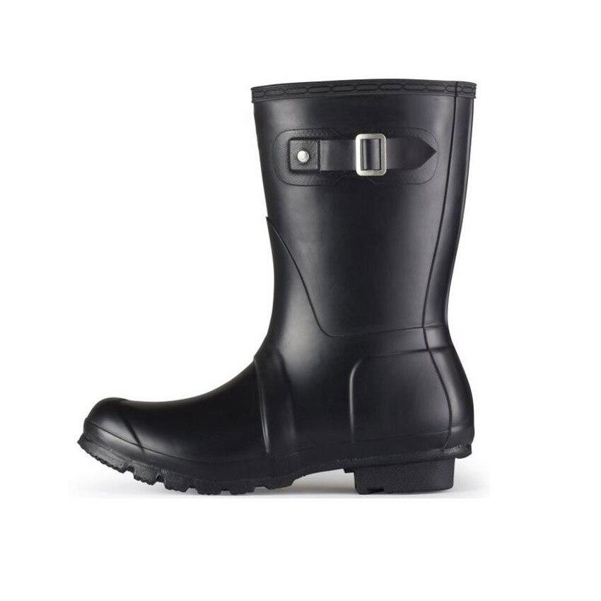 Fashion Middle H Brand Designer font b Women b font Rainboots Waterproof Rain Boots Autumn Winter