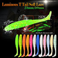 15pcs/lot Afishlure Soft Fishing Lures Luminous Bait 50mm 1g Noctilucent Artificial Fake Bait T tail soft insects Fishy Smell