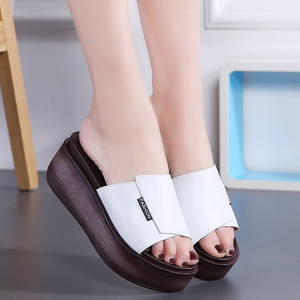 Image 2 - JZZDDOWN Summer women slippers genuine leather Open Toe middle heel shoes Women Wedges Slippers black white slides sandals
