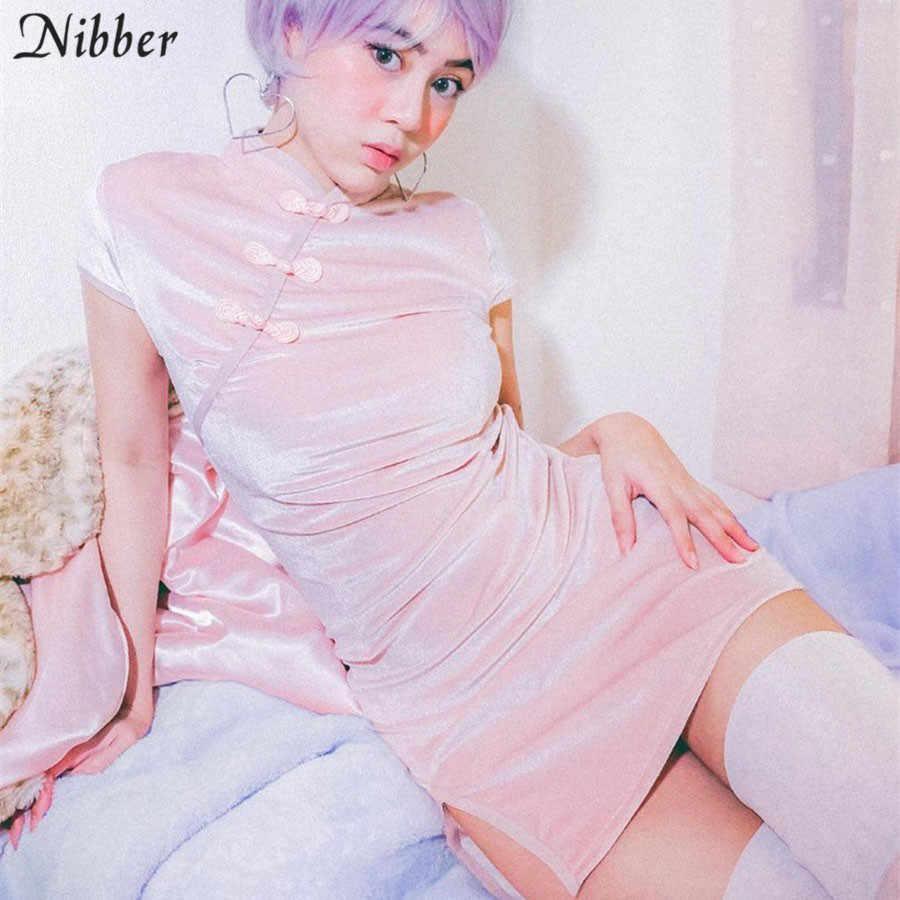 Nibber в стиле ретро; в китайском стиле с разрезами по бокам и воротником-стойкой, облегающее мини-платье women2019spring летняя модная блузка на бретельках, Клубные вечерние элегантный черный розовый короткое платье