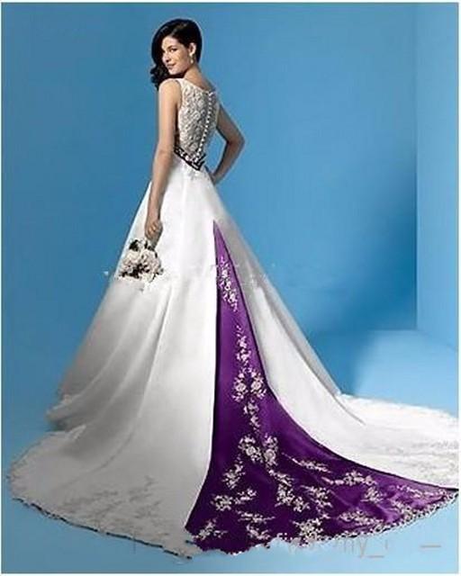 Vintage Mermaid Wedding Dress White And Purple V Neck Empire Waist