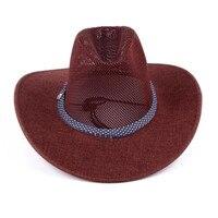 New Men summer style Sunscreen Western Cowboy Hat Trendy Wide Brim Fedora Jazz Hat Sunbonnet Summer Sun Beach Hat AW7589