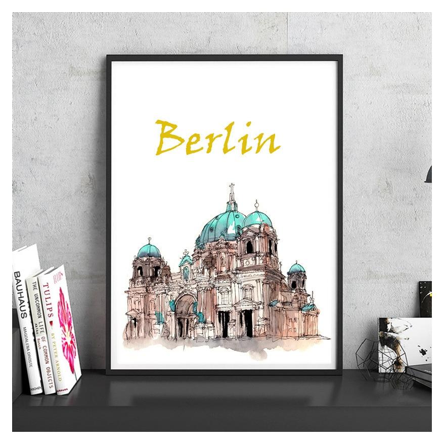 Vintage Poster Berliner Dom Berhmten Stadt Wahrzeichen Handgemalte Beschichtetes Papier Retro Wandaufkleber Bar Cafe Wohnzimmer Haus