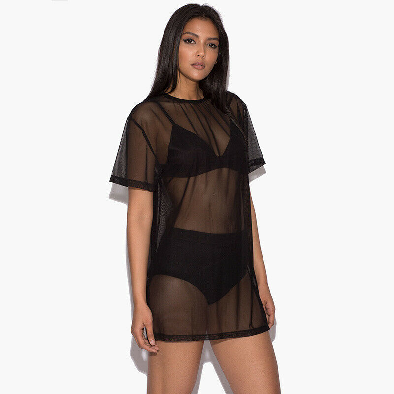 Women Soft Pullover Short Sleeve See-through O Neck Boho Casual Black Mesh Beach Bikini Cover Up Dress