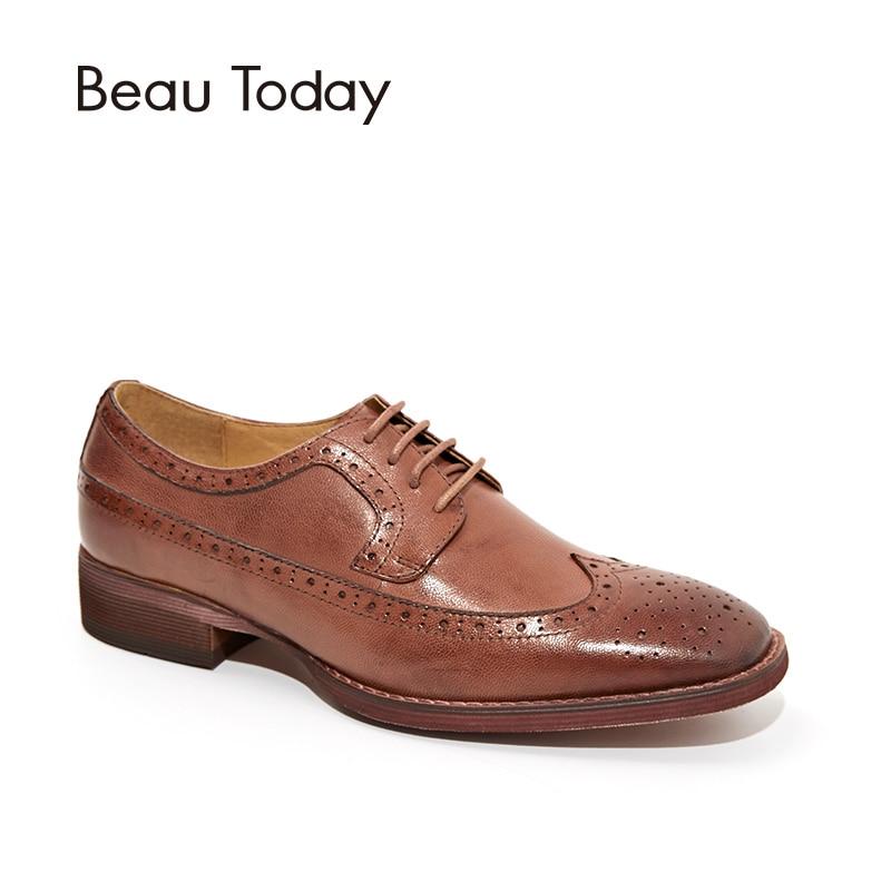 BeauToday Sapatos Brogue Wingtip Depilação de Pele De Carneiro Couro Genuíno Das Mulheres Flats Lace Up Dedo Do Pé Quadrado Sapatos Femininos Feitos À Mão 21098
