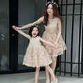 Spring/summer Mother Daughter Dresses Casual Floral embroidery Mother and Girls party Dresses Family Look princess Dresses