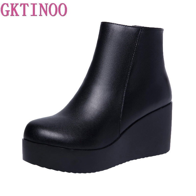 GKTINOO 2019 Genuine Leather Autumn Winter Boots Shoes Women Ankle Boots Female Wedges Boots Women Boot Platform Shoes Warm