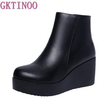 GKTINOO 2020 Genuine Leather Autumn Winter Boots Shoes Women Ankle Boots Female Wedges Boots Women Boot Platform Shoes Warm clax mens high boots genuine leather autumn casual motorcycle boots male shoe winter boot fur warm snow shoes